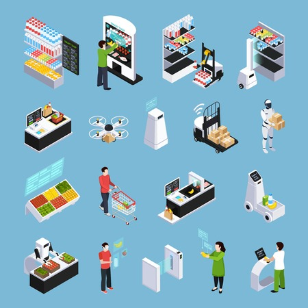Shop of future isometric icons with robots, automated cash desk, delivery by drone isolated vector illustration