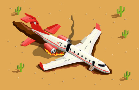 Airplanes helicopters isometric composition with desert landscape and image of fallen passenger aircraft with fire smoke vector illustration