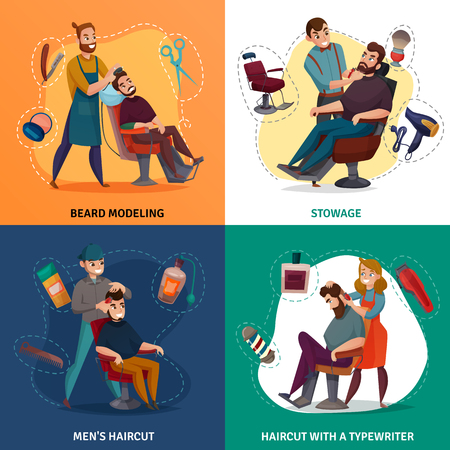 Barber shop cartoon design concept, beard modeling, styling, male coiffures, hair clipper isolated vector illustration