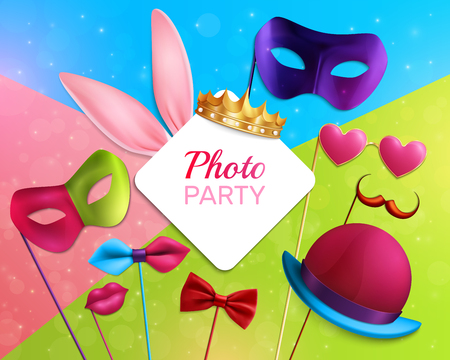 Photo booth party 3d composition with white rhombic frame, carnival elements on colorful sparkling background vector illustration