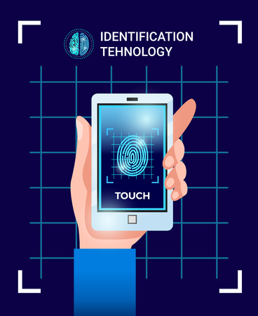 Biometric identification user technologies poster with hand holding smartphone with touchscreen id password fingerprint image vector illustration Ilustrace