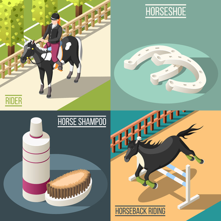 Equestrian sport 2x2 design concept set of horse shampoo horseshoe rider and horseback riding isometric square icons vector illustration