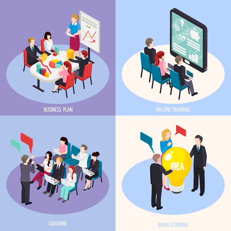 Business planning, online trainings, staff coaching, brain storming isometric design concept isolated vector illustration