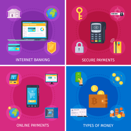 Financial technology flat orthogonal colorful icons square concept with internet banking online payments security isolated vector illustration