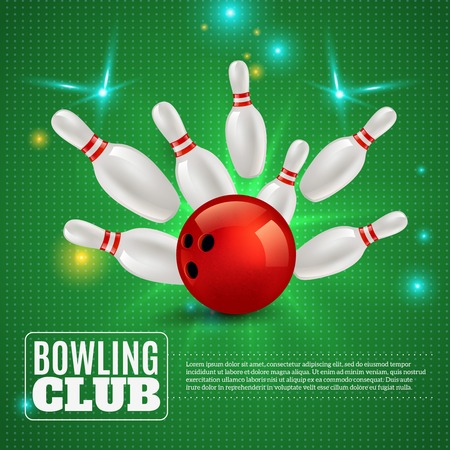 Bowling club 3d composition hitting ball on pins on green background with flashes and sparks vector illustration