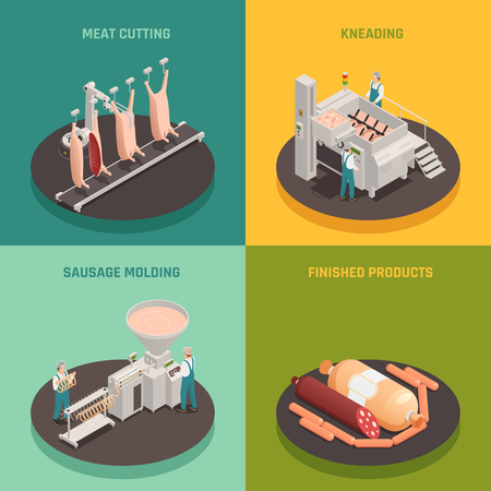 Meat cutting, kneading and sausage molding, finished products, factory equipment, isometric design concept isolated vector illustration