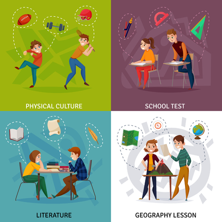 Students during school test, physical culture, literature and geography cartoon design concept isolated vector illustration Иллюстрация
