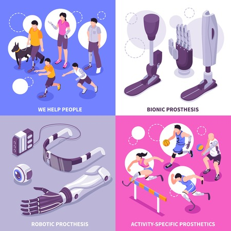 Bionic prosthesis 4 isometric icons concept with robotic limbs for specific activities brain controlled eye vector illustration