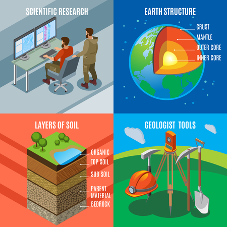 Earth exploration isometric design concept, scientific research, planet structure, soil layers, geological tools, isolated vector illustration