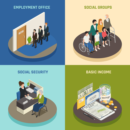 Social security isometric design concept, employment office, supports for various population groups, basic income, isolated vector illustration