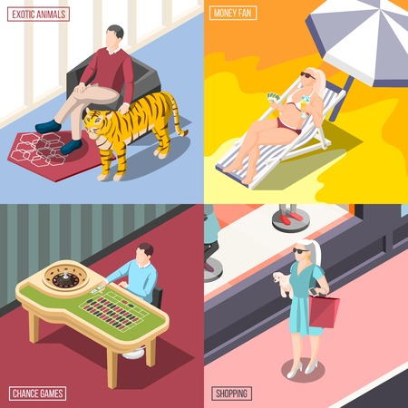 Rich life 2x2 design concept with chance games shopping exotic animals money fan square compositions isometric vector illustration