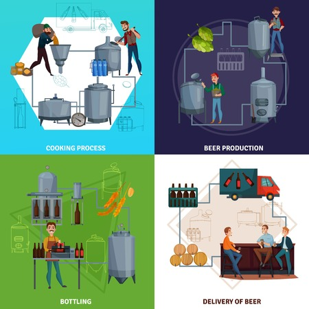 Workers during beer production including brewing process and bottling, product delivery cartoon design concept isolated vector illustration Banque d'images - 102549515