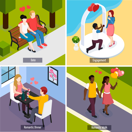 Couples during romantic date, dinner in restaurant and engagement isometric design concept isolated vector illustration  Illustration