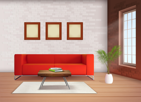Contemporary home interior design element with red sofa accent in neutral colored living room realistic vector illustration