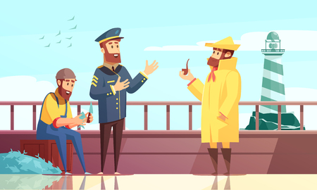 Nautical cartoon background with three sailors on fishing ship deck vector illustration Illustration