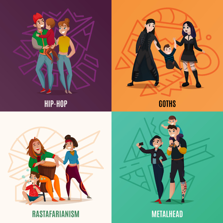 Subcultures hip hop, goths,  rastafarians, metalheads, family couple with child cartoon design concept isolated vector illustration