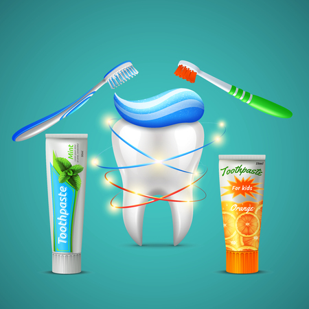 Family dental care realistic composition with shining tooth toothbrushes menthol and orange flavor toothpaste tubes vector illustration  일러스트