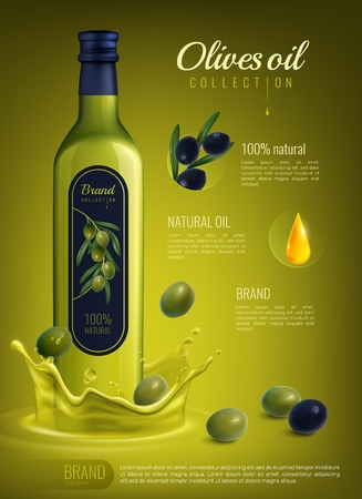 Realistic olive oil in glass bottle with label advertising composition on yellow green background vector illustration