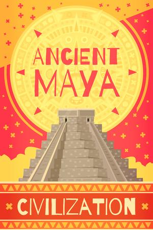 Colorful maya civilization poster with ancient teotihuacan pyramid cartoon vector illustration