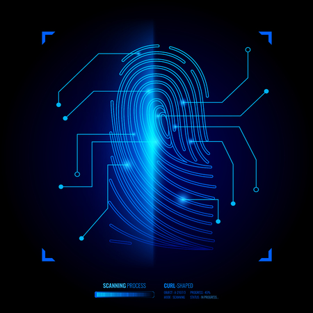Finger print verification, scanning process of biometric key, recognition system, interface elements on black background vector illustration Çizim