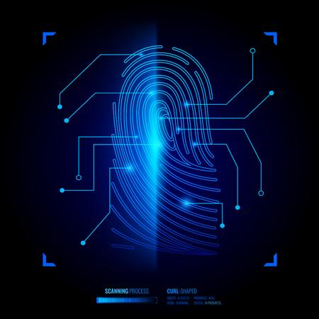 Verifica dell'impronta digitale, processo di scansione della chiave biometrica, sistema di riconoscimento, elementi dell'interfaccia su sfondo nero illustrazione vettoriale