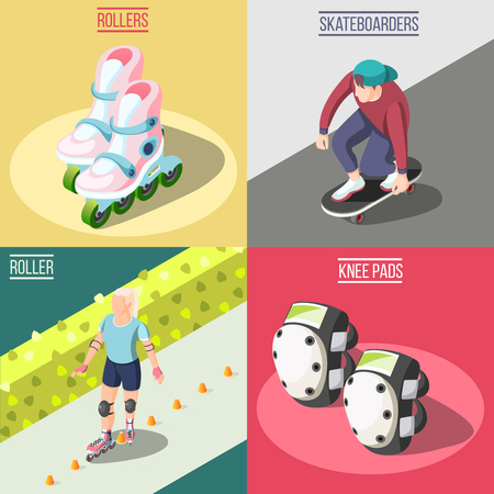 Roller and skateboarders 2x2 design concept with knee pads rollers and young athletes involved in extreme sport isometric vector illustration