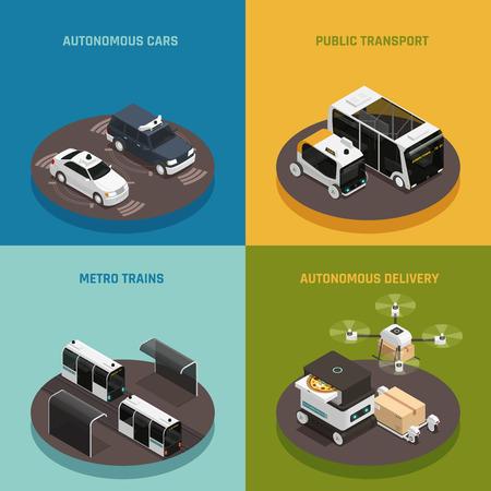 Autonomous vehicles isometric design concept, driverless cars, public transport, metro trains, robotic delivery systems isolated vector illustration Ilustração