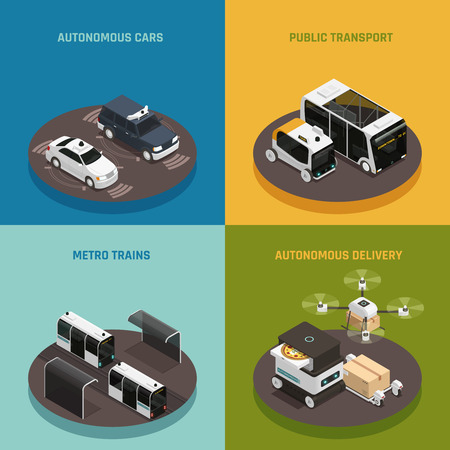 Autonomous vehicles isometric design concept, driverless cars, public transport, metro trains, robotic delivery systems isolated vector illustration Illustration