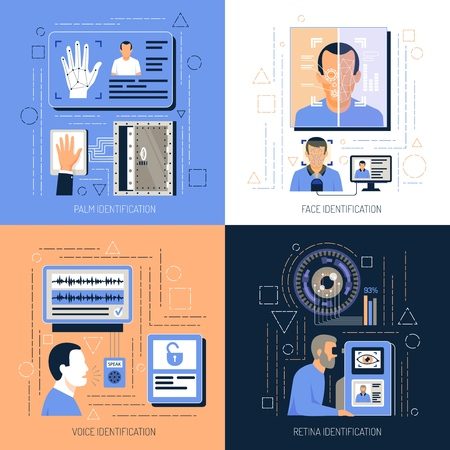 Identification technologies design concept with flat compositions of images with electronic pictogram symbols and infographic icons vector illustration Illustration