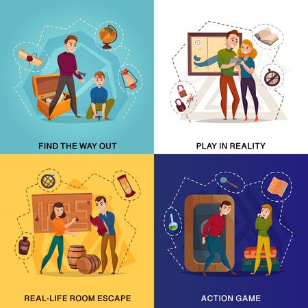 Búsqueda en el concepto de diseño de dibujos animados de realidad, escape de la habitación, encontrar la salida, juego de acción aislado ilustración vectorial