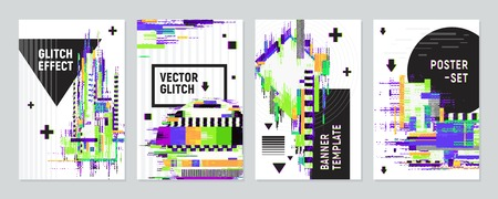 Set of four posters with glitch effect imitating defects of signal on monitor screen flat vector illustration  イラスト・ベクター素材