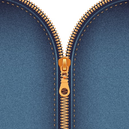 Half closed gold metallic zipper sewing to dark blue fabric abstract background realistic vector illustration Banque d'images - 102548880