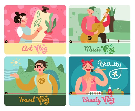 Video bloggers concept 4 colorful funny icons set with travel art beauty music popular authors vector illustration