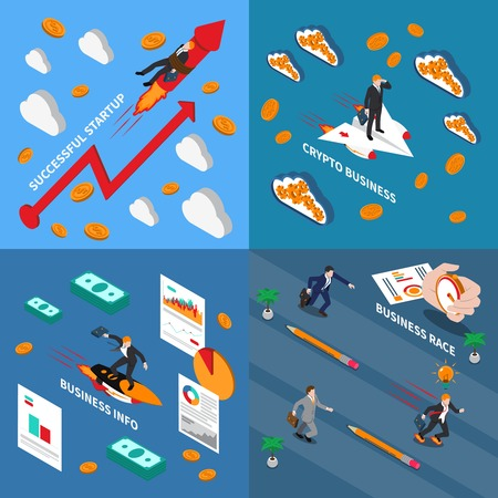 Accelerate business 2x2 design concept  set of business info successful startup business race and crypto business isometric square compositions vector illustration