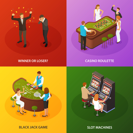 Casino slot machines roulette black jack game 4 colorful background isometric icons concept set isometric vector illustration Illustration