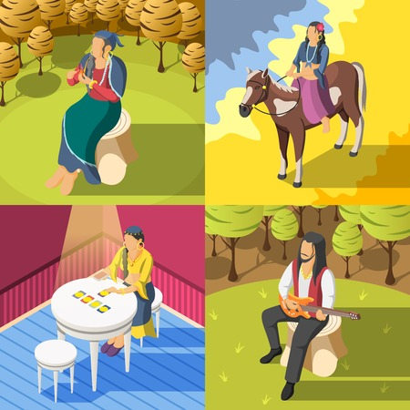 Gypsies 2x2 design concept with female fortune teller guessing on playing cards and guy playing guitar isometric vector illustration Illustration