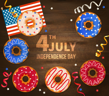 Independence day of united states of america vector illustration with national flag serpentine and decorated pastry on realistic wooden background