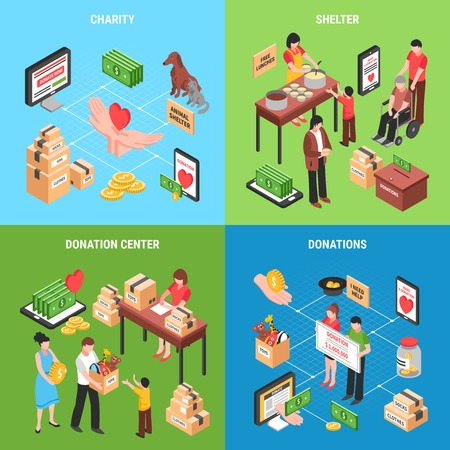 Charity 2x2  design concept with set of isometric icons on theme of donating money clothing food and toys for children vector illustration
