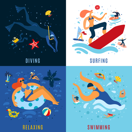 Sea ocean vacation activities concept 4 colorful icons set with relaxing diving swimming surfing abstract vector illustration