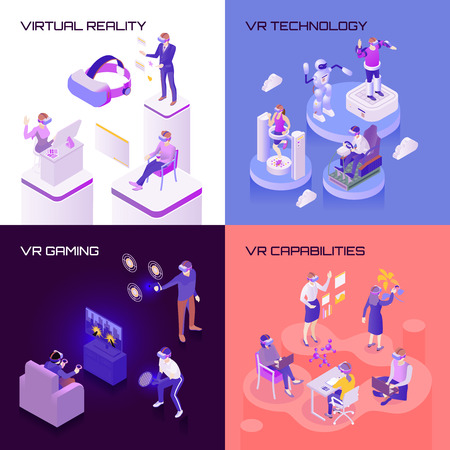 Virtual reality, capabilities of technology, vr gaming, isometric design concept isolated vector illustration