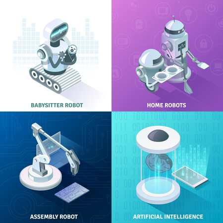 Artificial intelligence, home automated equipment, machine baby sitter, industrial robots isometric design concept, isolated vector illustration