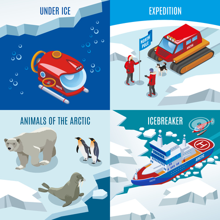 Arctic research isometric design concept, expedition, northern animals, discoveries under frozen water, ice breaker, isolated vector illustration