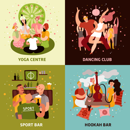 Club party concept icons set with sport bar symbols flat isolated vector illustration Banque d'images - 102549626