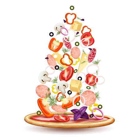 Pizza falling vegetables realistic composition with pizza crust and small pieces of topping on blank background vector illustration