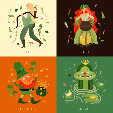 Forest fairy tale characters concept icons set flat isolated vector illustration Illustration