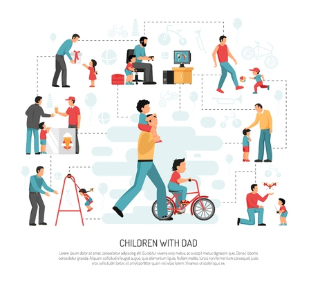 Fathers parenting flat infographic poster with outdoor activities birthday celebration playing computer games with children vector illustration Illustration