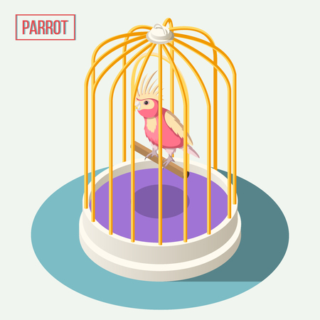 Exotic pets isometric composition with parrot sitting on wooden perch in cage cartoon vector illustration