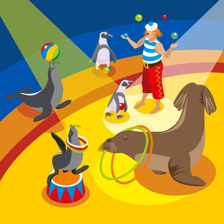 Sea circus isometric composition with juggling clown and animals performing spectacle on arena vector illustration