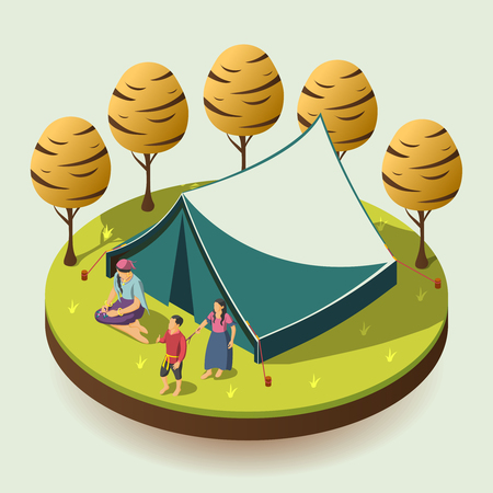 Gypsy camping outdoors design concept with romany family resting near tent isometric  vector illustration