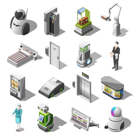 Robotized hotels isometric icons with robot waiter and cleaner personal assistant mechanical bellboy robotic baggage delivery isolated vector illustration